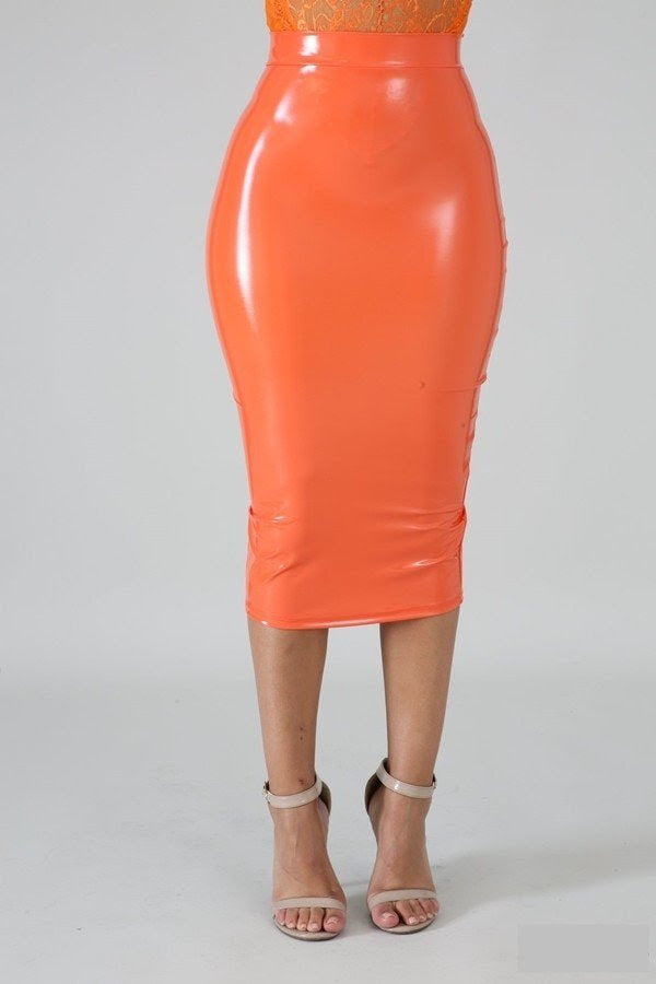 Orange Liquid Pencil Skirt