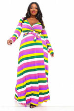 Pink & Green Stripe Tracey Maxi Dress