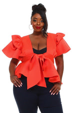 Orange Bow Tie Peplum Top