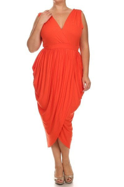 Orange Ke Ke Drape Dress