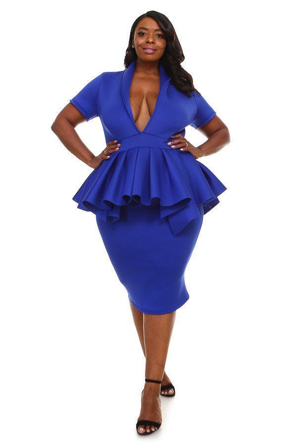 Royal Blue Macy Peplum Dress