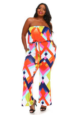 Orange Jonie Abstract Jumpsuit