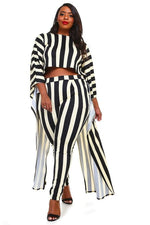 Pin Stripe Cape Split Pant Set