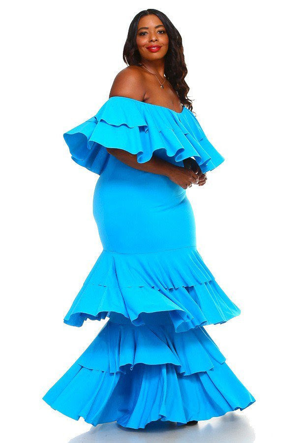 Turquoise Serena Tier Dress