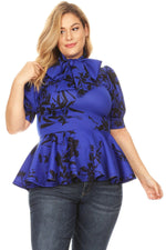 Royal Blue Print Peplum Top