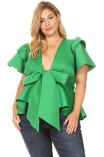 Green Bow Tie Peplum Top