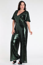 Green Sequin Wide-Leg Jumpsuit