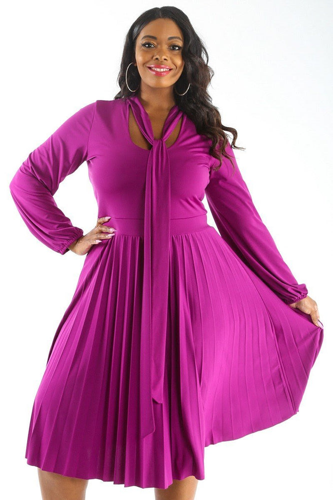 Magenta Bonnie Pleated Dress