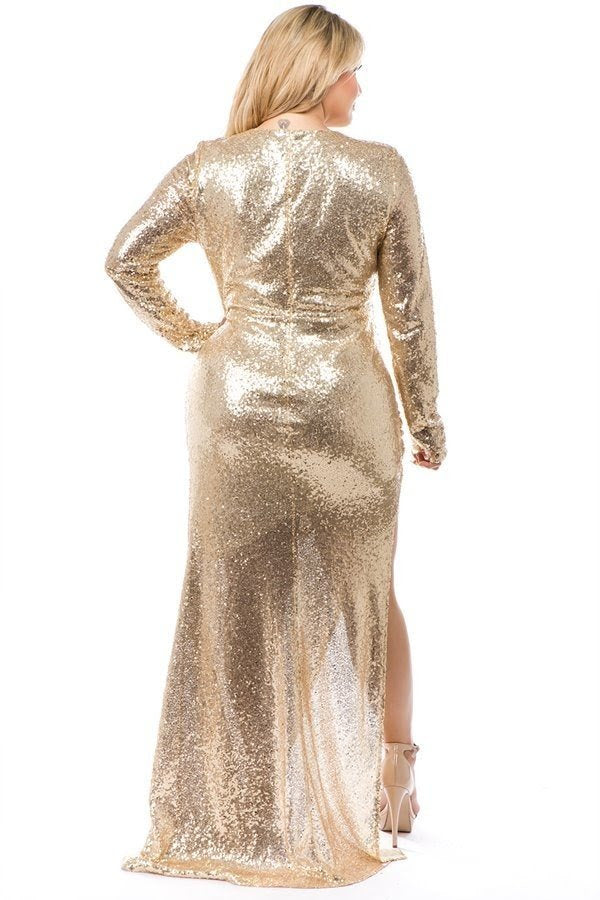 Gold Daphne Keyhole Sequin Gown