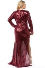 Burgundy Daphne Keyhole Sequin Gown