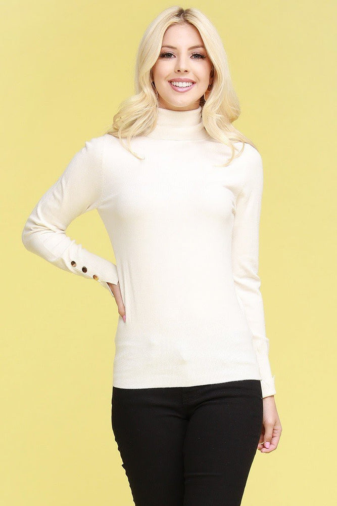 Ivory Gold Button Turtleneck