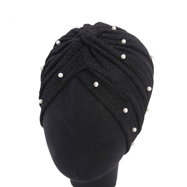 Black Pearl Knot Twist Turban