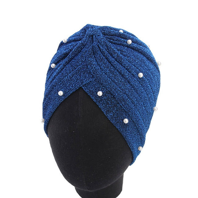 Blue Pearl Knot Twist Turban