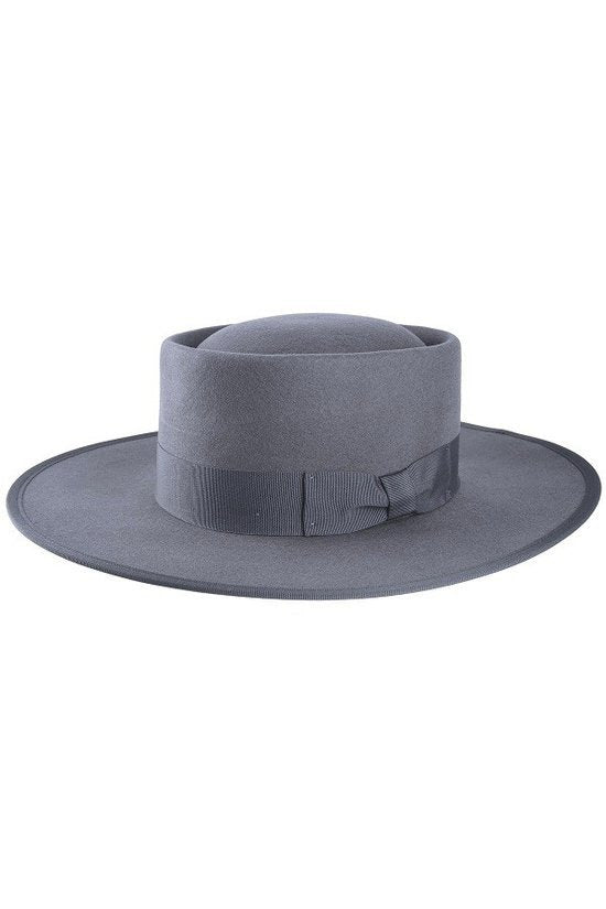 Grey Wool Boater Hat
