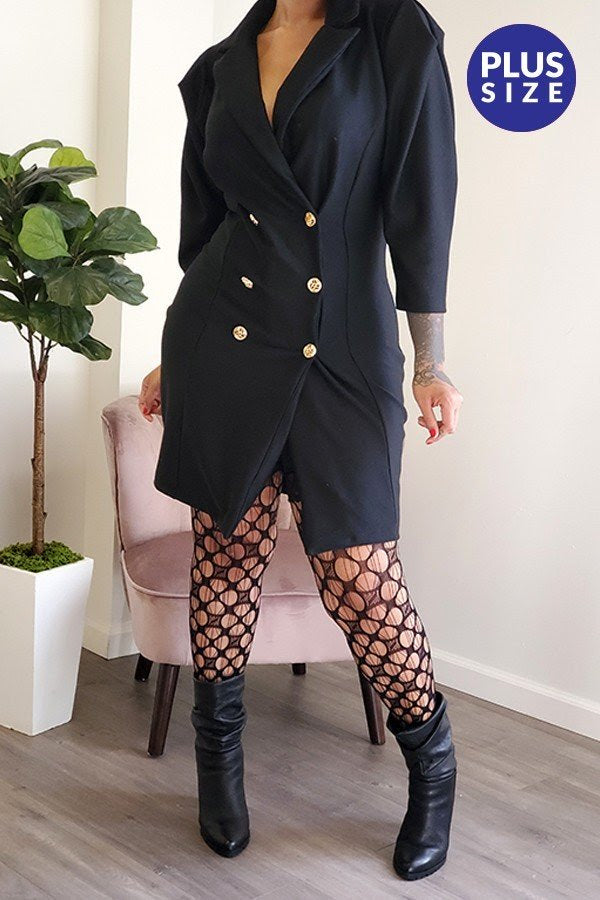 Black Puff Sleeve Coat Dress