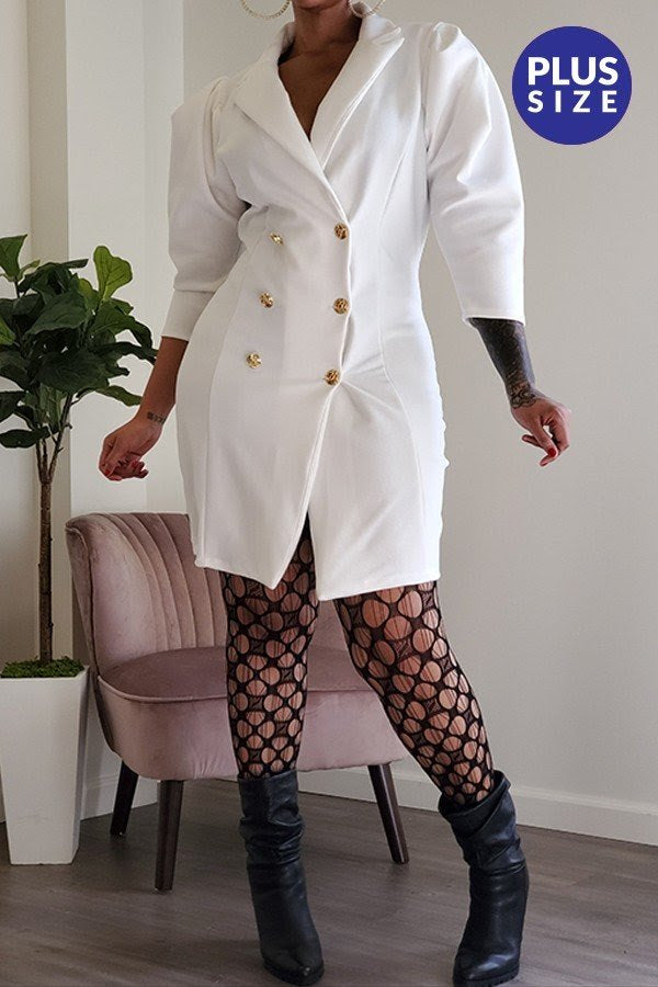 Ivory Puff Sleeve Coat Dress