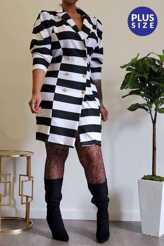 Stripe Puff Sleeve Coat Dress