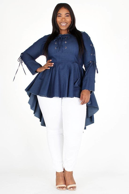 Denim Lace-Up Peplum Top