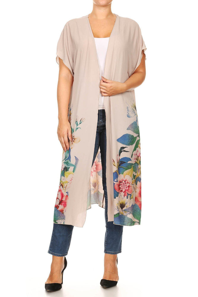 Taupe Floral Printed Duster