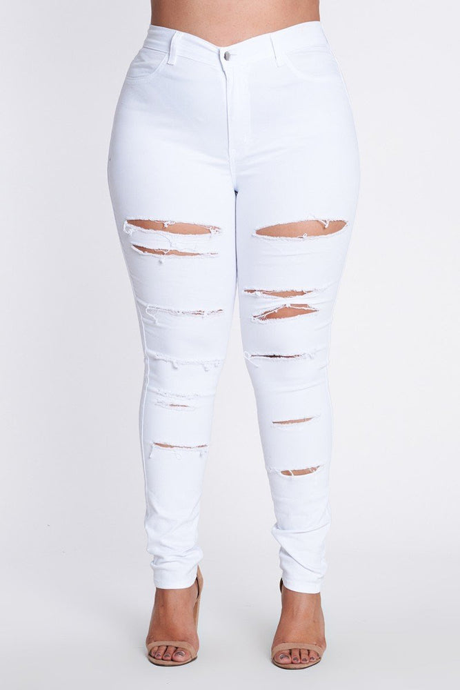 White Ripped High Waisted  Jeans