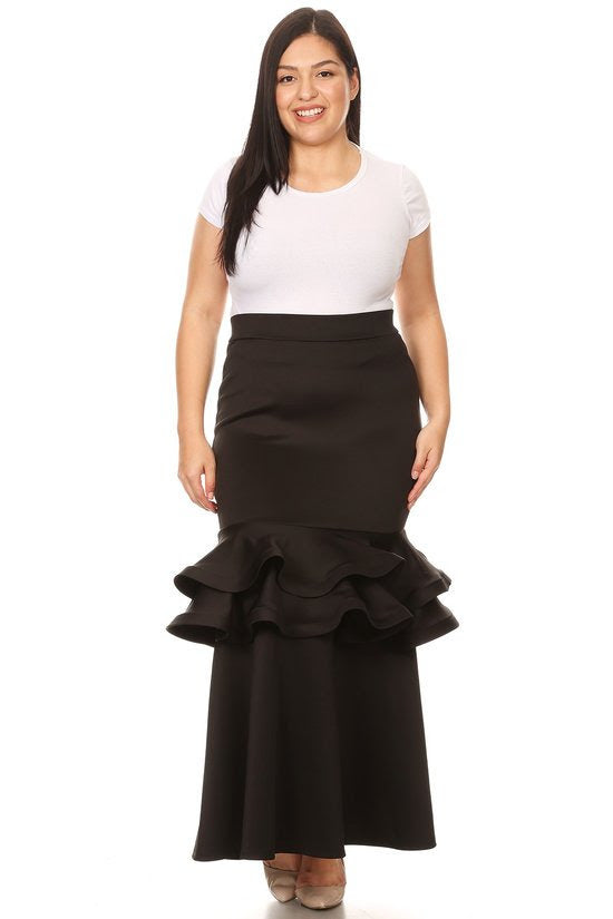 Black Long Tiered Hem Skirt