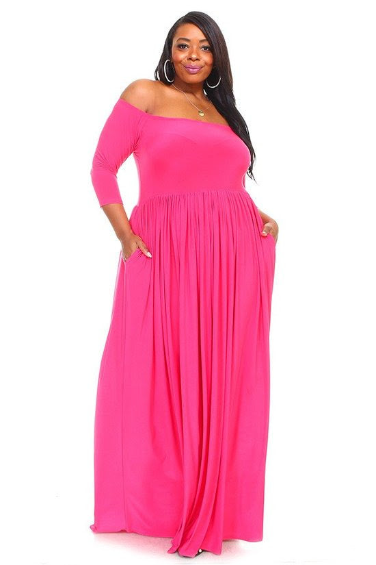 Extended Size Pink Bella Maxi Dress