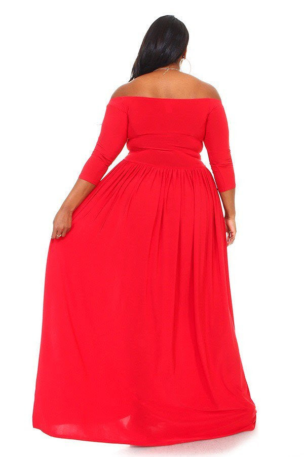 Extended Size Red Bella Maxi Dress