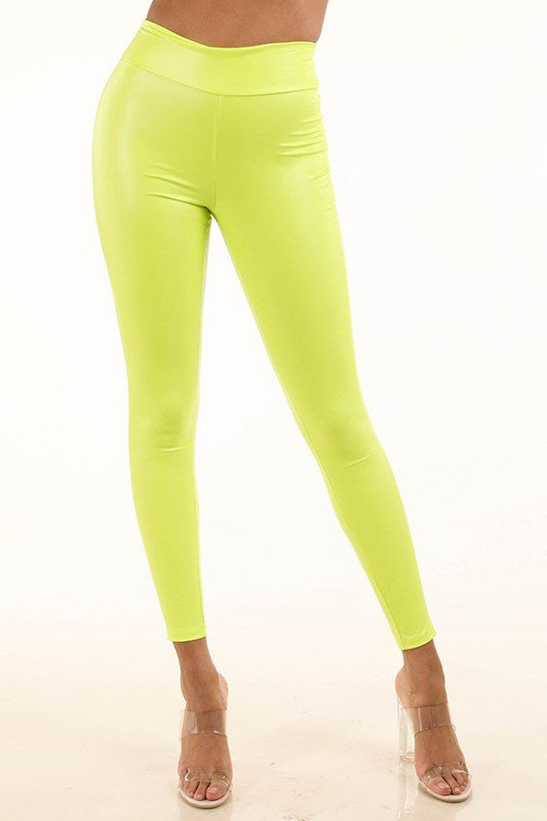 Neon Yellow Ruched Back Leggings