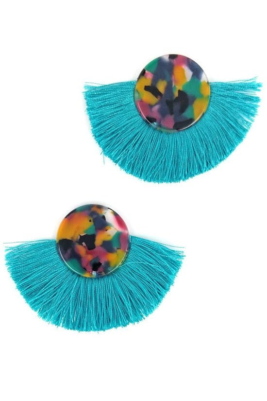 Teal Round Tassel Earrings