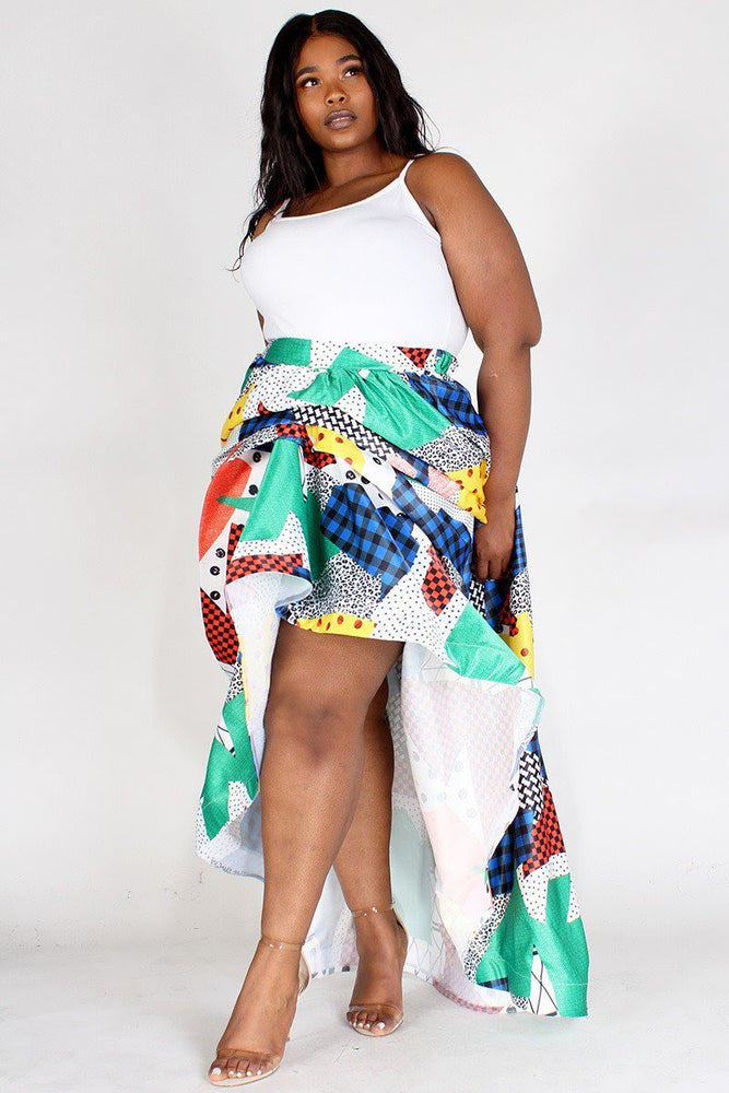 LaJuanda Multi Print Gathered Skirt