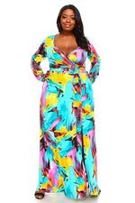 Aqua Mellie Print Maxi Dress