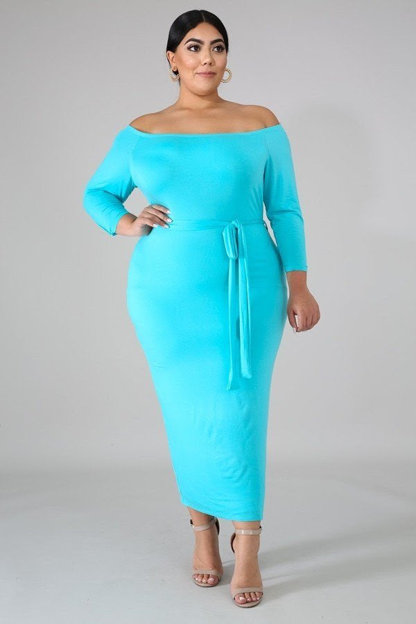 Aqua Paige Off Shoulder Dress