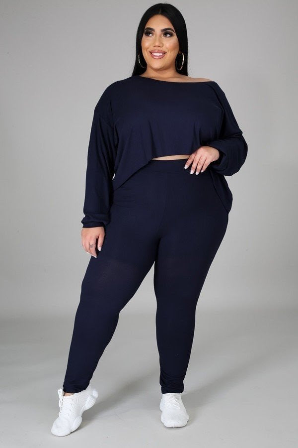 Navy Blue Hi Lo Leggings Set