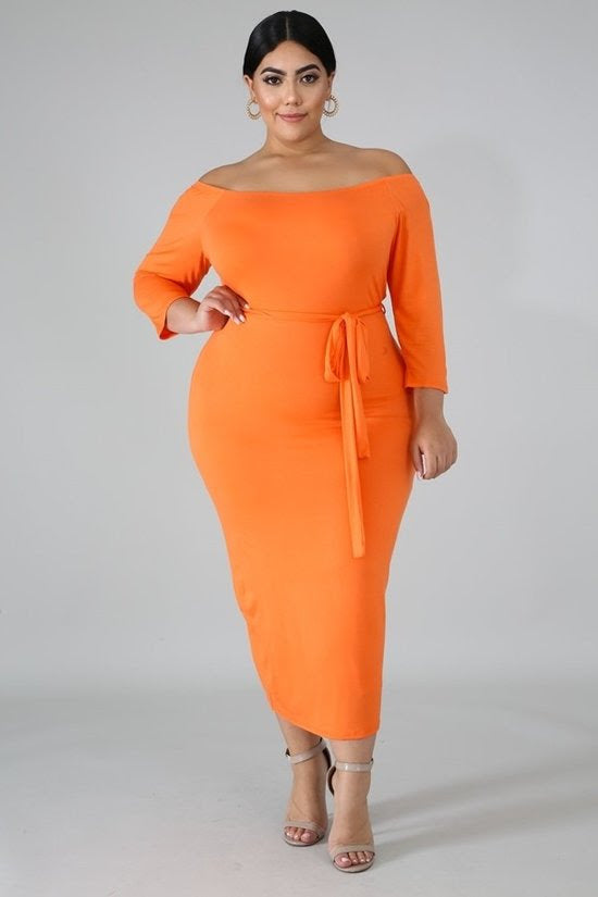 Orange Paige Off Shoulder Dress