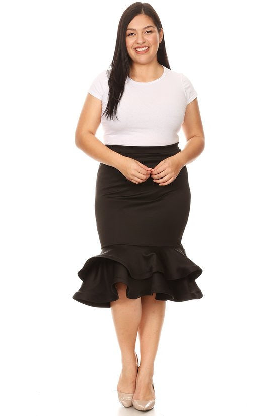 Black Short Tiered Hem Skirt