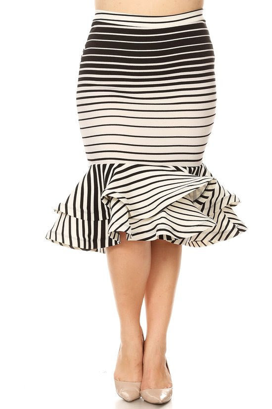 Stripe Tiered Hem Skirt
