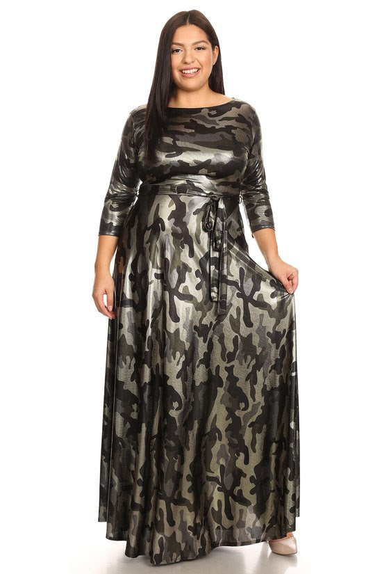 Cooper Foil Camouflage Gabby Maxi Dress