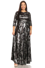 Silver Foil Camouflage Gabby Maxi Dress