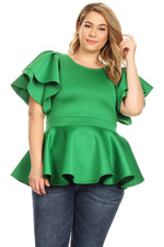Green Tia Peplum Top