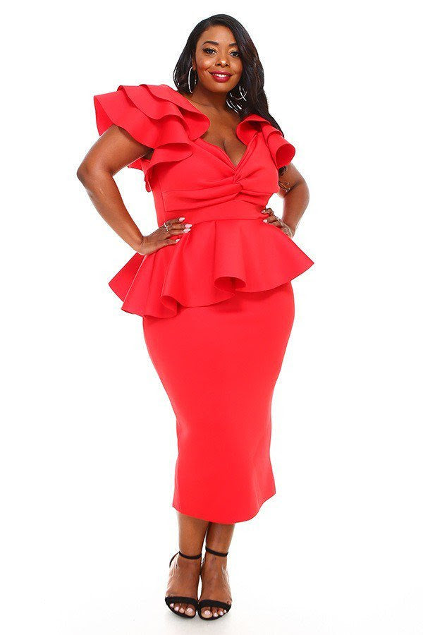 Red Janelle Peplum Dress