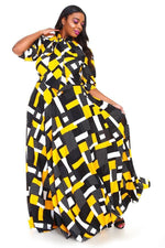 Yellow Cleo Pixel Maxi Dress