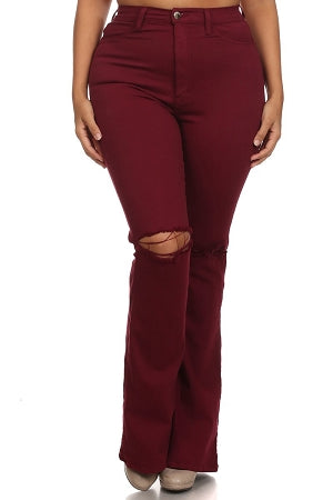 Burgundy Ripped Knee Flare Jeans