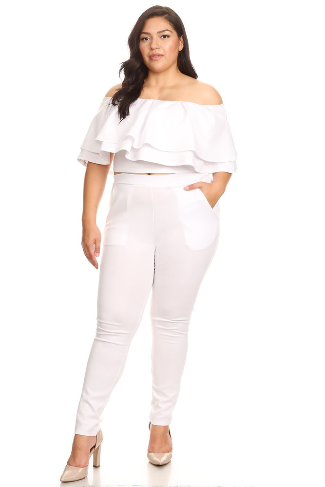 White Justice Tiered Pant Set