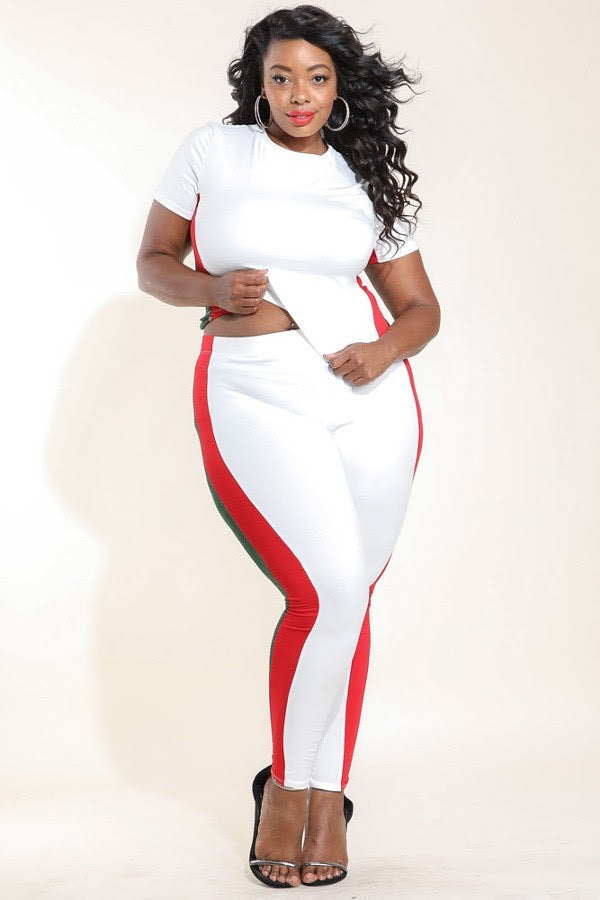 White Roya Color-Block Legging Set
