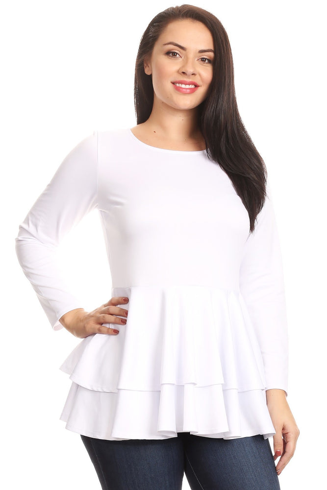White Double Peplum Top