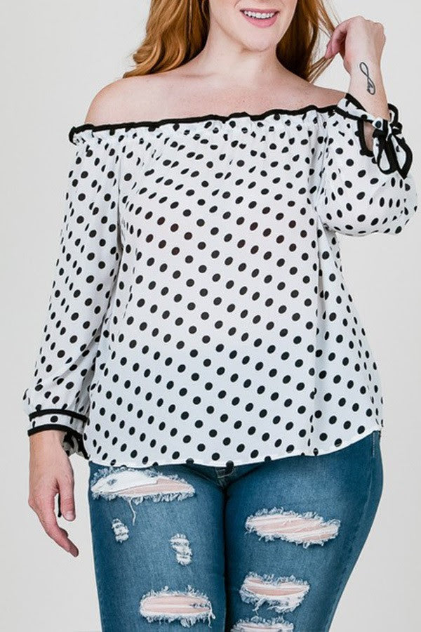 White Trim Polka Dot Top