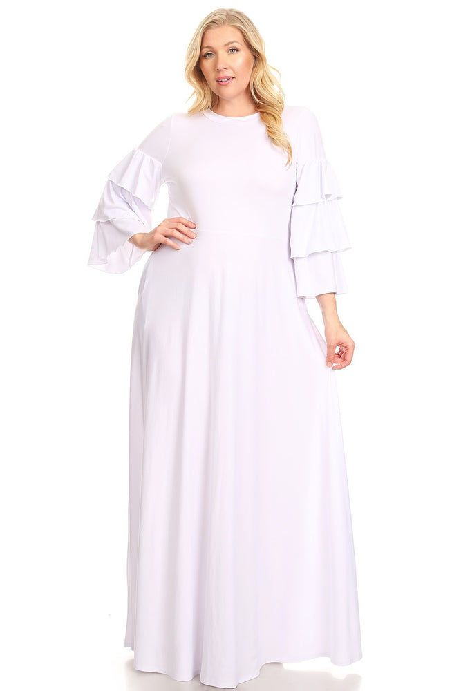 White Hattie Tiered Sleeve Dress