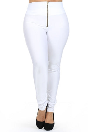 White Disco Zipper Leggings