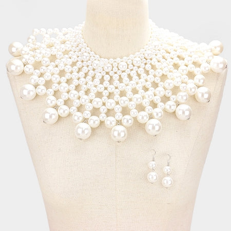 White Pearl Bib Choker Necklace
