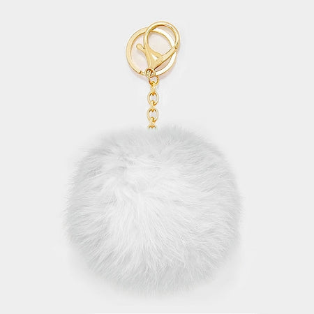 White Pom Rabbit Fur Keychain Charm